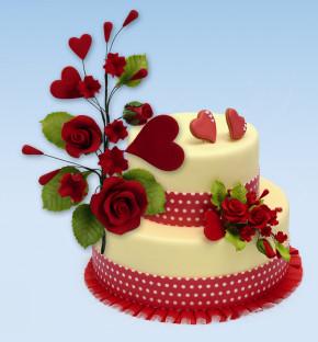 Tragant-Blumenbouquet, Rosen mit Herzen, nicht essbar