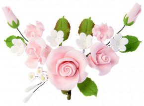 Tragant-Blumenbouquet, rosa, 14cm, 4 Stück
