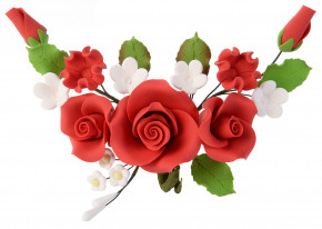 Tragant-Blumenbouquet, rot, 14cm, 4 Stück