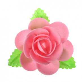 Waffel-Blumen mit Blättern, rosa, 90mm, 40 Stück