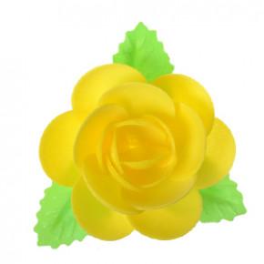 Waffel-Blumen mit Blättern, gelb, 90mm, 40 Stück