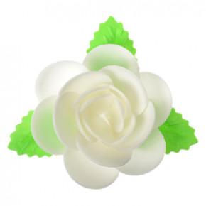 Waffel-Blumen mit Blättern, weiss, 90mm, 40 Stück