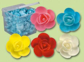 Waffel-Blumen, lieferbar in den Farben gelb, hellblau, rosa, rot