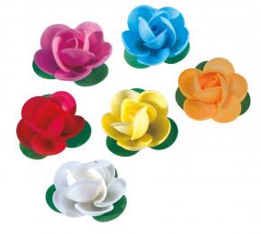 Waffel-Rose mit Blättern, sortiert, 45mm, 100 Stück