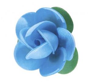 Waffel-Rose mit Blättern, blau, 45mm, 100 Stück