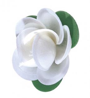 Waffel-Rose mit Blättern, weiss, 45mm, 100 Stück