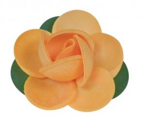 Waffel-Rose mit Blättern, orange, 45mm, 100 Stück