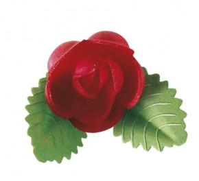 Waffel-Rose mit Blättern, rot, 50mm, 100 Stück