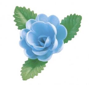 Waffel-Rose mit Blättern, blau, 60mm, 50 Stück