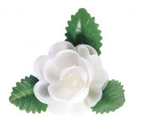 Waffel-Rose mit Blättern, weiss, 60mm, 50 Stück