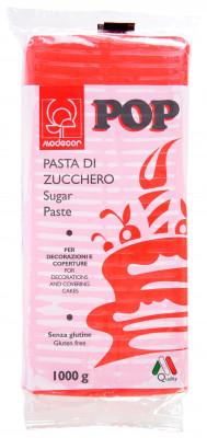 POP Fondant, rot, modellierbare Einschlagmasse, 1kg, 1 Stück