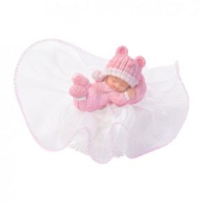 Taufaufsatz Baby schlafend auf Tüllsockel, rosa, Polystone, 10cm, 12 Stück