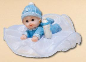 Taufaufsatz Baby, blau, 2-fach sortiert, Polystone