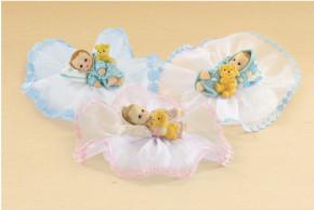Taufaufsatz Baby, 4-fach sortiert, Polystone, in den Farben rosa und hellblau lieferbar. Bitte gewünschte Farbe angeben