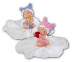 Taufaufsatz Baby, 2-fach sortiert, Polystone, in den Farben rosa und hellblau lieferbar. Bitte gewünschte Farbe angeben