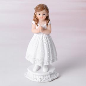 Kommunion-Mädchen, betend, Polystone, 12cm, 8 Stück