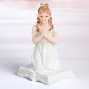 Kommunion-Mädchen, knieend, Polystone, 11,5cm, 6 Stück