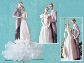 Elegantes Brautpaar auf Tüll, mit Blumen, 3-fach sortiert, Polys