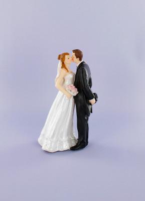 Brautpaar mit Blumenstrauß bzw. tanzend, Polystone, 15cm, 6 Stück
