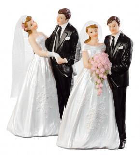 Brautpaar mit Tüllschleier, mit Blumenstrauss bzw. tanzend, 2-fach sortiert, Polystone
