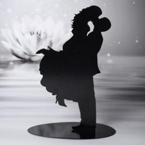 Tortenaufsatz küssendes Brautpaar, Silhouette aus Metall, 20cm, 4 Stück