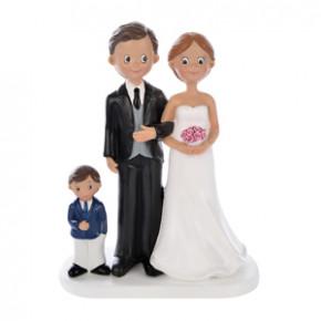 Brautpaar mit kleinem Jungen, Polystone, 17,5cm, 4 Stück
