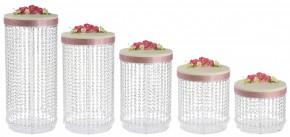 Exclusives Tortenständer-Set mit 5 Tortenständern, Platten a 30cm, Kristall-Dekor, Acryl, zerlegt, 30x20-60cm, 1 Stück