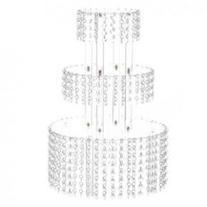 Exclusiver Tortenständer mit 3 Platten, Platten 20, 30 und 40cm, Kristall-Dekor, Acryl, zerlegt, 20-40x60cm, 1 Stück