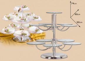 Eleganter Tortenständer mit 11 Glasplatten und Sockel, Plattengr