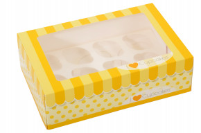 Karton für Muffins und Cupcakes mit Einsatz für 12 Stück mit 4,5cm Durchmesser, 24,5x16,5x7,5cm
