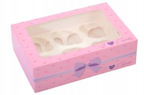 Karton für Muffins und Cupcakes mit Einsatz für 6 Stück 5x7,5cm