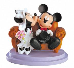 Brautpaar Mickey Mouse auf der Bank, Polystone, 15cm, 2 Stück