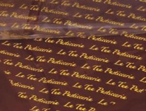 Schoko-Abziehfolie mit Ihrem Namen oder Logo, einfarbiger Druck