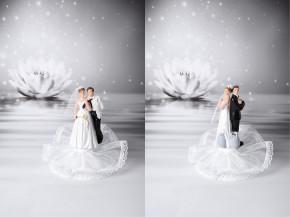 Lustiges Brautpaar mit Peitsche/Fessel bzw. Sprengstoff, 2-fach sortiert, Polystone, 14,5/15,5cm, 6 Stück