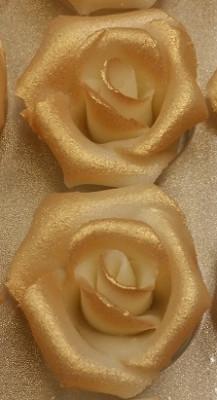 Marzipan-Rosen, mittel, gold